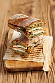 Ciabatta with mozzarella, tomatoes and basil pesto