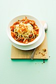 Spaghetti with prawns and tomato sauce
