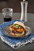 Glazed chicken breast, cabbage and sweetcorn sandwich