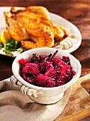 Festive apple red cabbage as an accompaniment to roast chicken