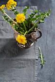 Dandelions in a silver jug