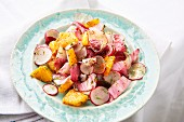 Radish salad with oranges and radicchio