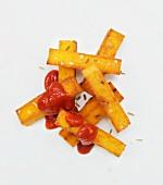 Polenta chips with ketchup
