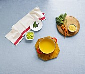 Chicken soup with various ingredients