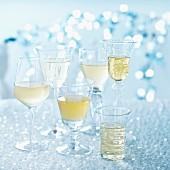 Various different white wine glasses
