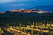 Das Dorf Laguardia in der Abenddämmerung hinter den Weinbergen, Alava, Spanien