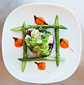 Vegetable tartar with feta cheese and green asparagus