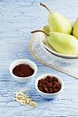 Pears, raisins, almonds and cocoa