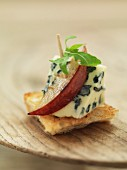 A blue cheese and pear canape