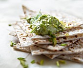 Crackers with a pistachio dip