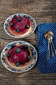 Tartlets with blueberry mousse