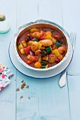 Gnocchi with Mediterranean vegetables in an aluminium dish
