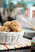 Freshly baked breakfast rolls in a bread basket