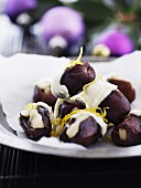 Stuffed dates dipped in white chocolate for Christmas