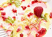 Remains of a mixed leaf salad with raspberries (close-up)