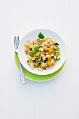 Curried rice with turkey, mango and slivered almonds