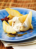 Spiced pears with cream quark and cinnamon