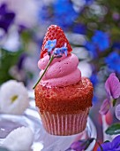 A mini strawberry cupcake