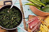 Capocollo, boiled chard and fresh beans