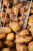 New potatoes with a metal scoop