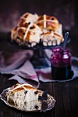 Hot cross buns with blackberry jam