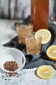 Japanese tea made from roasted barley (mugicha) with lemon slices