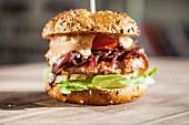 A hamburger with onion chutney