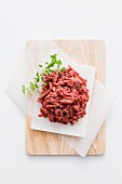 Fresh minced beef on a chopping board