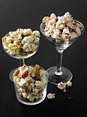 Various types of sweet and salty popcorn