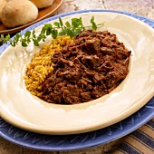 Adobo chili with Spanish rice and oregano