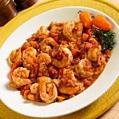 Camarones a la diabla (prawns, onions, garlic, chillis, tomatoes)