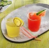 Watermelon juice and cucumber and lemon lemonade