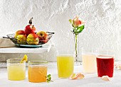 Various lemonades (elderflower, rhubarb, Fassbrause (non-alcoholic drink made from fruit, spices and malt extract) and rose)