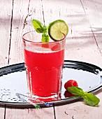 A glass of raspberry lemonade