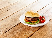 Burger with tomato and lettuce