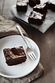 A chocolate brownie with salted caramel