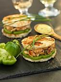 Salmon and green tomato sandwiches