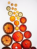 Various slices of citrus fruits