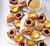 Various Danish pastries served with coffee
