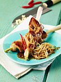 Turkey breast and lemongrass skewers with bean sprouts