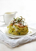 Courgette souffle with creamy sauce