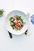 Sausage salad with radishes