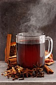 A steaming glass of mulled wine