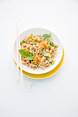 Pasta with prawns, Chinese cabbage and mandarins (Thailand)