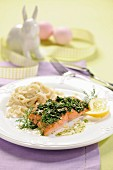 Salmon fillet with spinach and tagliatelle for Easter