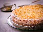 Crumble cake with icing sugar