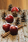 Apples, cinnamon sticks and pine cones as Christmas decorations