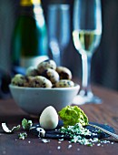 Boiled quail's eggs and guacamole for New Year's Eve