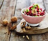 Raw vegetable salad with walnuts