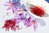 Saffron threads and saffron flowers